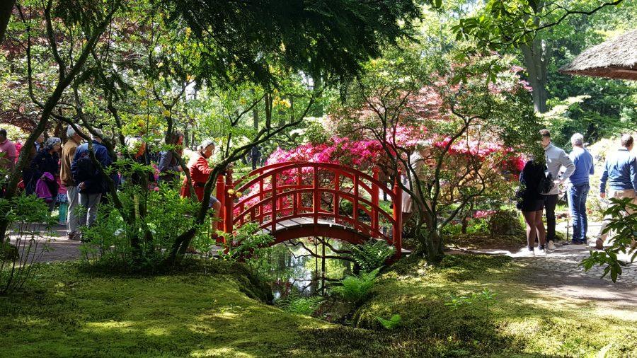 Rode brug in de Japanse Tuin