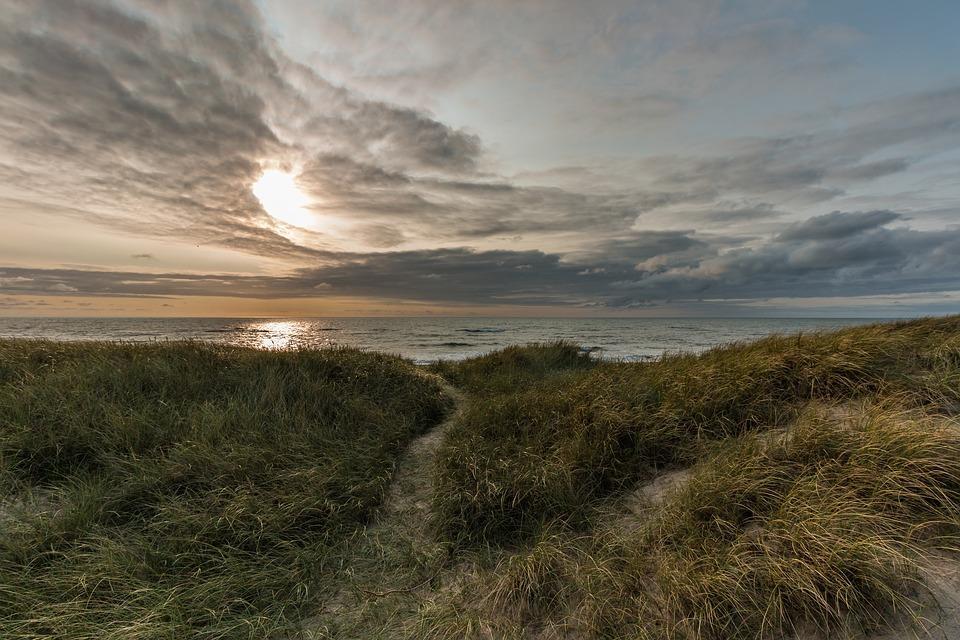 Herfstwandelen strand duingras en zee op achtergrond