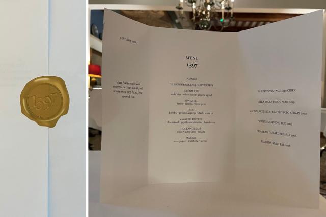 menukaart Restaurant 1397